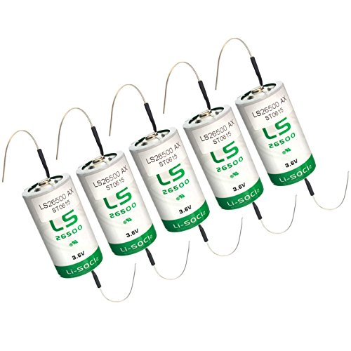5x SAFT LS26500_AX Size C 3.6V 7700mAh Primary Lithium Cell for Xeno and more by Exell Battery