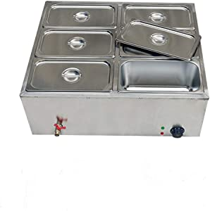 6-Pan Countertop Food Warmer Electric Steam Table For Buffet Commercial Stainless Steel Buffet Steam With 6 Stainless Steel Covers 110V 850W 7L Large Capacity (6 Pan/7L)