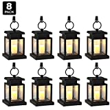 [Pack of 8] Derlights Vintage Waterproof Solar Powered Hanging Umbrella Lantern Portable Led Candle Lights with Clamp for Beach Umbrella Tree Pavilion Garden Yard Lawn Camping Lighting & Decoration