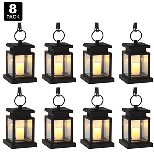 [Pack of 8] Derlights Vintage Waterproof Solar Powered Hanging Umbrella Lantern Portable Led Candle Lights with Clamp for Beach Umbrella Tree Pavilion Garden Yard Lawn Camping Lighting & Decoration by Derlights