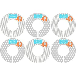 C189 Boy Baby Nursery Closet Clothing Size Divider Navy Elephants Set of 6