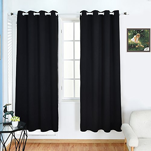 BOBLANCA Thermal Insulated Blackout Curtains Grommet Top Room Darkening Curtains for Living Room 52X84 Inch Black 2 Panels