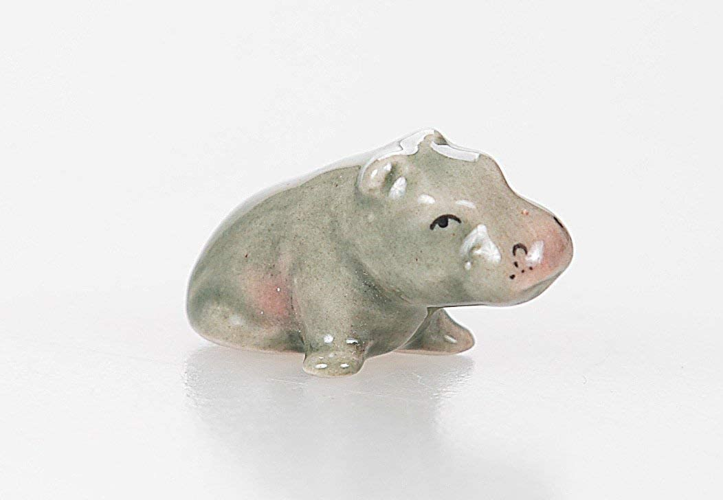 "WitnyStore Hippopotamus Figurine - Collectible Animal Art - Miniature Hand Made and Painted Ceramic Table Decor Perfect for Gifts and Souvenirs - 1 1/4"" L x 3/4"" H x 1/2"" W"