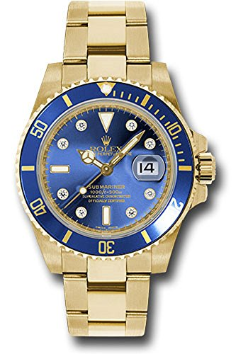 (Rolex Oyster Perpetual 40MM 18K Yellow Gold Submariner Date with A Blue Cerachrom Rotatable Bezel and a Blue Dial with Diamond Hour Markers.)