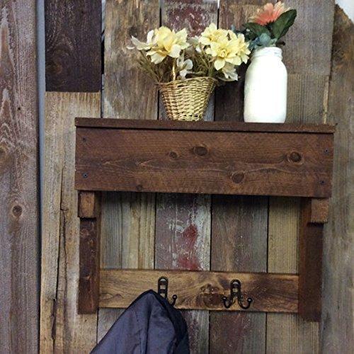 Rustic Wood Wall Coat Rack, Entryway Storage Distressed Coat Hook Rack,  Hooks, Coat