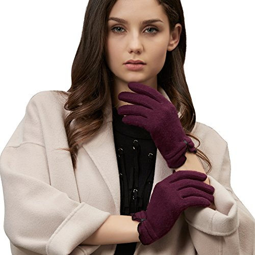 GSG Ladies 3-Finger Touchscreen Texting Wool Knit Gloves Mittens Cozy Warm Winter Gloves Smartphone ONE SIZE Full Finger Nice Gifts Wine