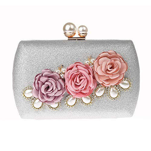 Purse EPLAZA Clutch For Wedding Rhinestone Handbag Party Floral Evening Prom Silver Beaded Women Bags Bride 8ZrHqa8