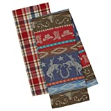 DII Design Imports Out West Western Dishtowels - Set of 2 - Down Home Jacquard - Rancher Plaid