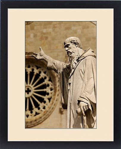 Framed Print of Statue of San Benedetto with facade of Basilica di San Benedetto beyond, Norcia by Fine Art Storehouse