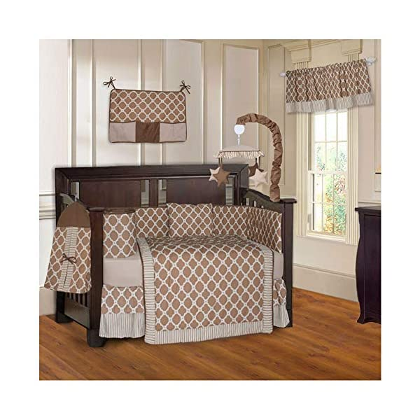 BabyFad Clover Brown 10 Piece Baby Crib Bedding Set