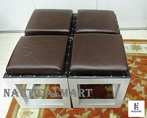 Ottoman Seat White Wooden Stool Set of 4 by NAUTICALMART