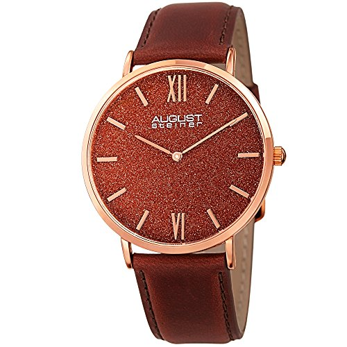 August Steiner Men's AS8211RGRD Rose Gold Quartz Watch with Red Sand Stone Dial and Brown Leather Strap Diamond Chronograph Red Leather Watch
