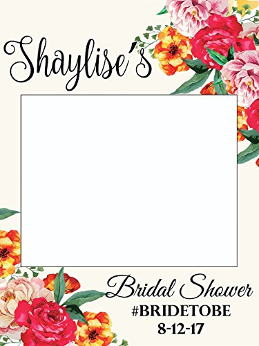 Bridal Party Frame (Custom Floral Wedding Photo Booth Frame - Sizes 36x24, 48x36; Personalized Floral Wedding Home Decorations, Bridal shower photo booth, Wedding selfie frame, Handmade Party Supply Photo Booth Props)