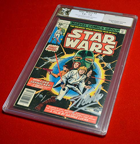 RARE Signed the late, great STAN LEE (1922-2018) Autograph Marvel STAR WARS Comic #1, graded PGX VF 7.5, COA