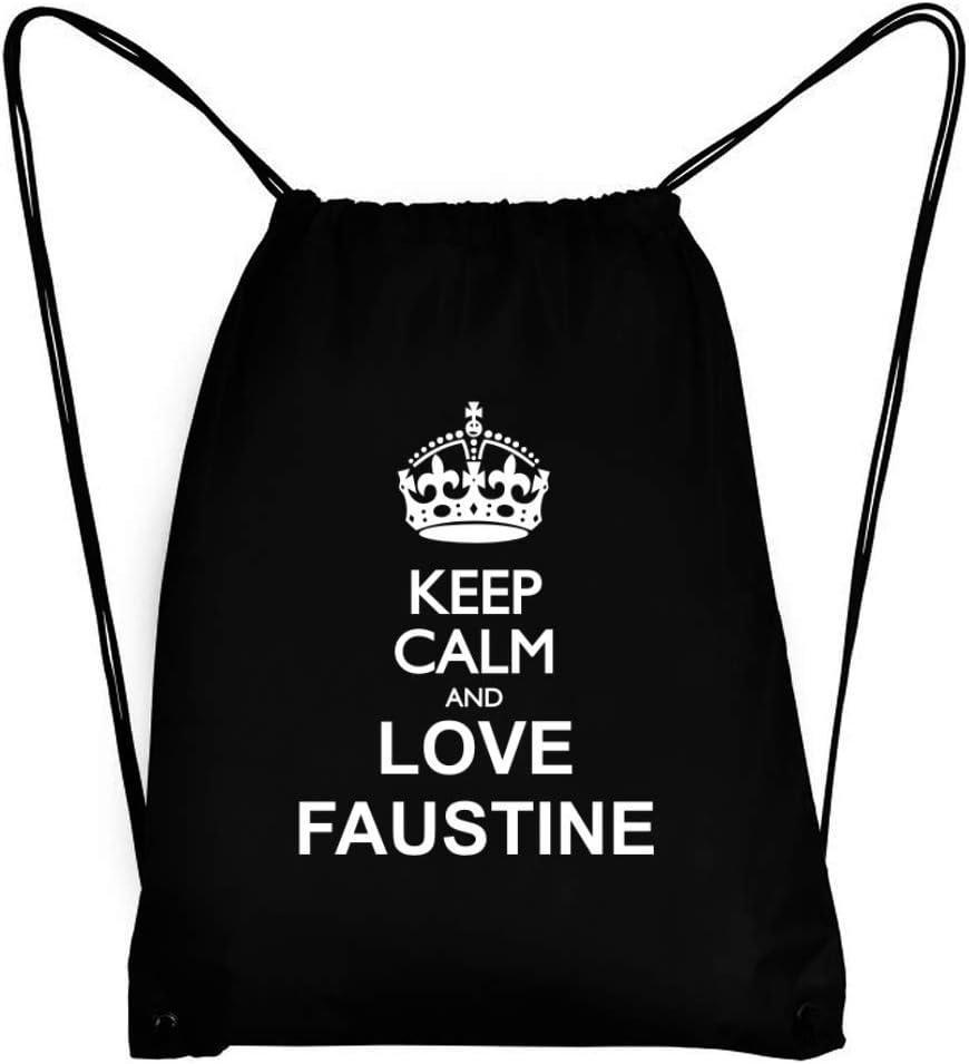 Teeburon Keep Calm and Love Faustine Sac /à Cordon 18 x 13