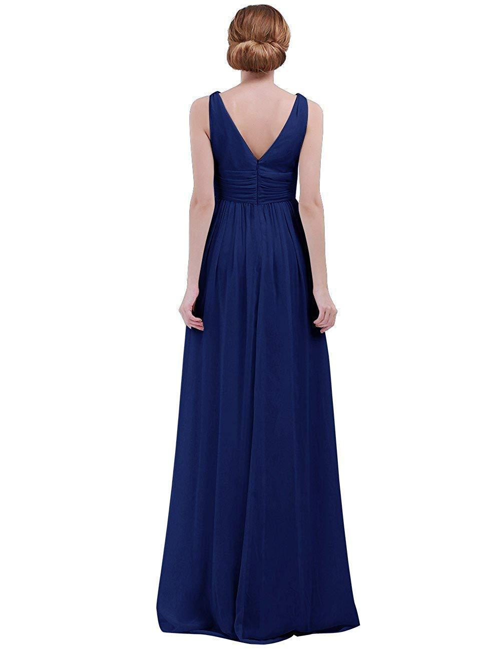 Dark Navy Taille UK 14     10 MJY Mode féminine sans hommeches col en V profond en mousseline de soie demoiselle d'honneur robe de soirée,corail,Taille UK 14     10