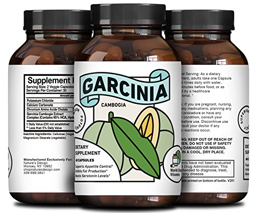 Pure 95% HCA Garcinia Cambogia Supplement – Best Reviews Premium Weight Loss Extract + Fat Blocker – Men + Women – Appetite Suppressant Pills to Slim + Burn Fat – Results