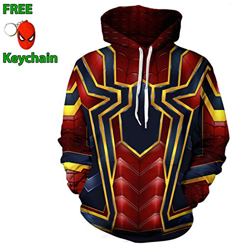Geek Gear Unisex Superhero Cosplay Sweater with Free Keychain (XXX-Large, Spider #2) ()
