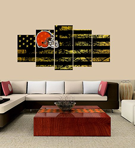 Brown Stretched Canvas (PEACOCK JEWELS [LARGE] Premium Quality Canvas Printed Wall Art Poster 5 Pieces/5 Pannel Wall Decor Cleveland Browns logo Painting, Home Decor Football Sport Pictures- Stretched)