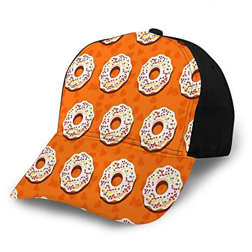 Baseball Hats Caps Donut Sweet Sugar Icing Donuts in The White Glaze On Orange Creamy Food Sun Snapback Cowboy Cap