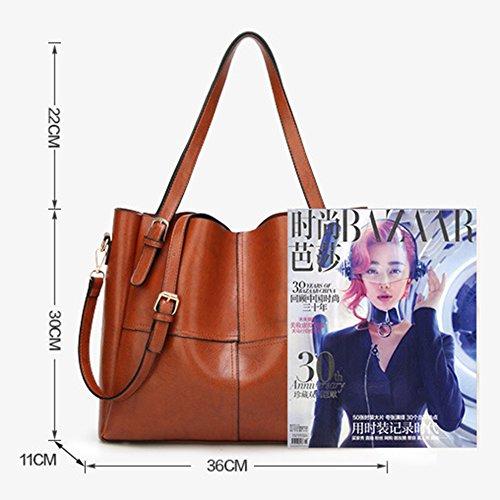 Grande Mode Dames Pour à Café Cuir Sacs En Commerce cire Huile Shopping Main corps Classique à Croix Capacité Commute Sacs Bandoulière Sacs rPvwr