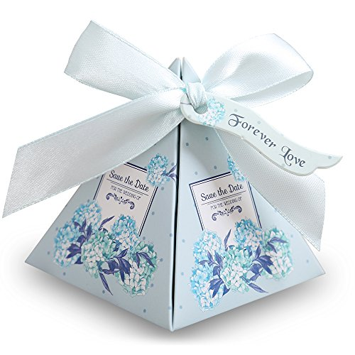 Doris Home 100 pcs Floral Pyramid Wedding Favor Candy Boxes Bridal Shower Party Paper Gift Box with Tag (Light Blue, 7.27.28cm)