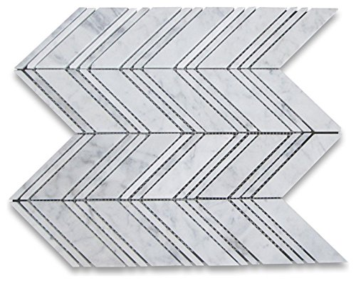 Wallandtile Arabescato Carrara 1''x 4'' Chevron Interlocking Honed Mosaic Tile