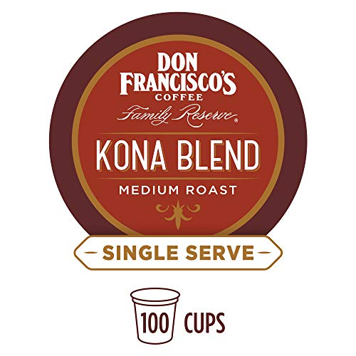 Don Francisco's Kona Blend (100 Pods) Medium Roast, Single Cup Coffee Pods, Compatible with Keurig K-Cup - Blend Kona K-cups