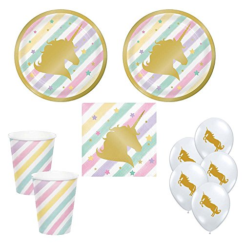 02 Unicorn Sparkle Gold Foil Party Supplies for 16 guests - small plates, napkins, cups, balloons