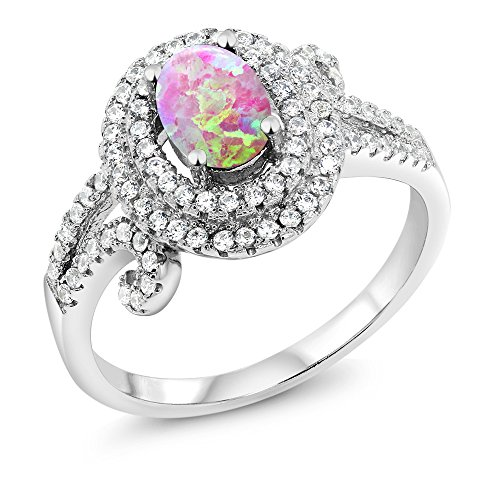 1.88 Ct Oval Cabochon Pink Simulated Opal 925 Sterling Silver Ring