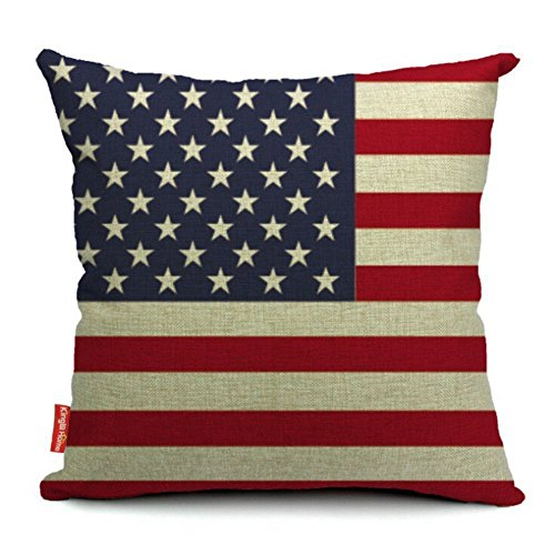 Decorative Flag Pillow (Kingla Home Square Cotton Linen Sofa Cushion Covers Decorative Pillow Cases 18 X 18 Inch American Flag Zippered Custom Throw Pillow Cover)