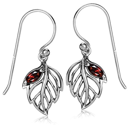 (Silvershake Natural Garnet White Gold Plated 925 Sterling Silver Leaf Dangle Hook Earrings)