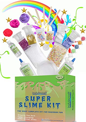 DIY Slime Kit -Learn how to make slime! Make Glow-In-The Dark, Clear, Neon and Glitter Slime - Perfect Gifting Option! Comes With Easy To Make Recipes! Super Slime Making Kit for Boys & Girls!