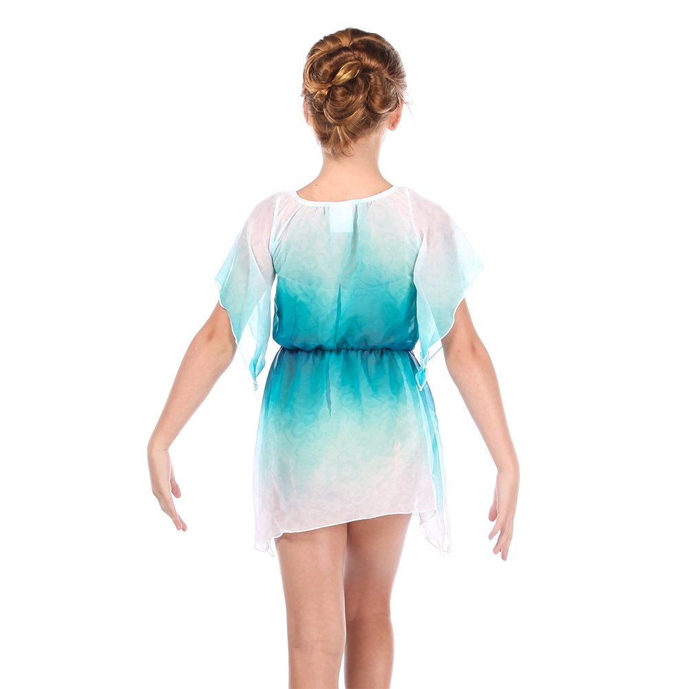 299e14ebda26 Amazon.com: Alexandra Collection Youth Lace Watercolor Lyrical Dance  Costume Overdress Teal: Clothing