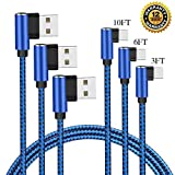MCUK USB Certified Type C Cable - USB C to USB A 90 Degree Charger Nylon Braided Fast Charging Cord Compatible with Nintendo Switch - Apple New MacBook - Samsung Note 9 - Galaxy S8 S9 (3ft+6ft+10ft)