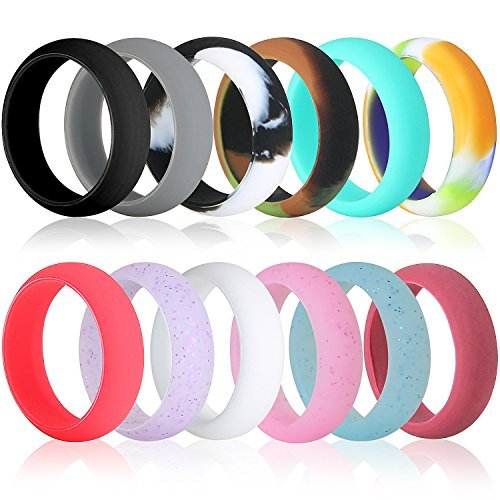 Cheap Best Value 12 Pack Silicone Wedding Ring, Premium Medical Grade Wedding-Bands, Outdoor Activities, Sports, Gym, Comfortable Fit & Skin Safe, Antibacterial For Men And Women (Women-Size-6)