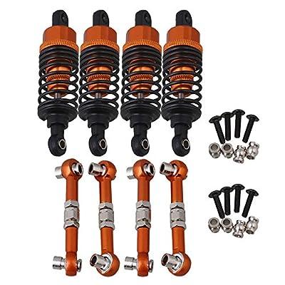 Mxfans Orange Aluminum Alloy Front/Rear Servo Link & Shock Absorber Upgrade for HPI RS4 SPORT3 RC1:10 On Road Racing Car Set of 4: Toys & Games