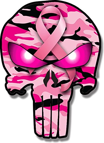 Vinyl Junkie Graphics Breast Cancer Ribbon Punisher Skull Pink Camouflage car Truck Laptop Sticker Custom Graphic Decal 5