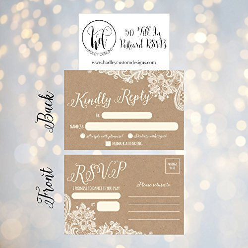 50-Rustic-RSVP-Cards-RSVP-Postcards-No-Envelopes-Needed-Response-Card-Blank-RSVP-Reply-RSVP-for-Wedding-Rehearsal-Dinner-Baby-Shower-Bridal-Birthday-Engagement-Bachelorette-Party-Invitations