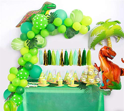 Dinosaur Party Supplies Little Dino Party Decorations Set forBoyJurassic World Park T Rex BirthdayBalloons Arch Garland Kit Blow Up Dinosaurs Balloon ()