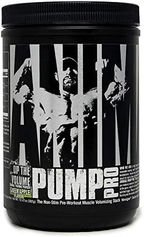 Animal Pump Pro Powder Non Stimulant Preworkout Pump Cell volumization with Added Sea Salt for Electrolytes 20 Servings – Green Apple