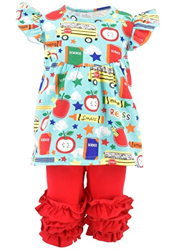 Unique Baby Girls Back to School Recess Tunic Boutique Outfit (4T/M, Blue) -