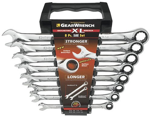 GearWrench 85198 8 Piece SAE XL Ratcheting Combination Wrench Set ()