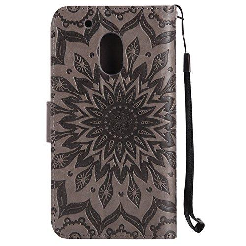 YHUISEN Diseño de la impresión de la flor del sol Caja de cuero de la PU del tirón de la carpeta del tirón del lanyard con la ranura para tarjeta / el soporte para Motorola Moto G4 Play ( Color : Brow Gray