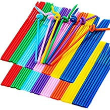 Flexible Drinking Straws of 200 PCS, Colorful Disposable Extra Long Bendable Plastic Drinking Straws
