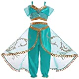 LEHNO Girls Aladdin Pretend Princess Costume Jasmine Cosplay Clothing Top+Pant Set
