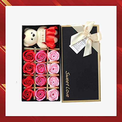 KUANSHENG Floral Petal Soap, for Bathing, Hand Washing, 12 Red Roses and Red Bear, Valentine's Day Gift