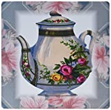 3dRose LLC 8 x 8 x 0.25 Inches Mouse Pad, Victorian Flower Teapot on Blue/Pink Floral Background (mp_37380_1)