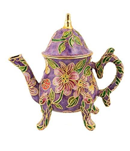 Value Arts Handmade Cloisonne Purple Decorative Teapot(purple, museum)