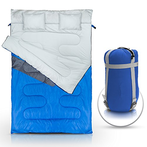 Double Sleeping Bag (Queen Size) with 2 Small Pillows – Waterproof, Comfortable & Compact for Hiking, Trekking, Camping or other Outdoor Activities – Includes a Carry Bag with Compression Sack. by ABCO TECH